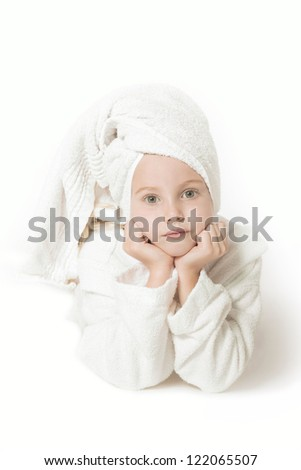 young girl in white towel and bath robe against white background - stock photo