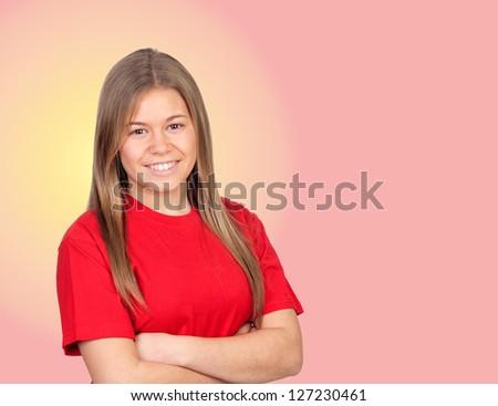 Young girl isolated on orange background