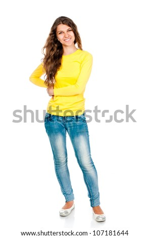 young girl isolated on white background - stock photo
