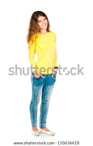 young girl isolated on white background