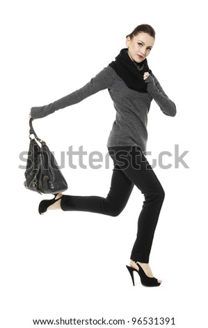 young girl jumping isolated