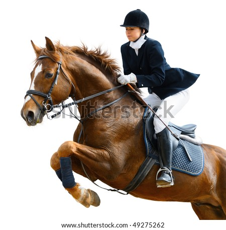 Young girl jumping with sorrel horse - isolated on white #49275262