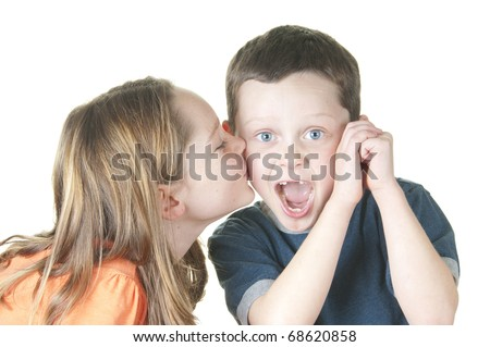 Girl Kissing Boy on Cheek Girl Kissing Boy on Cheek