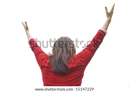 young girl lifts hands upwards on a white background