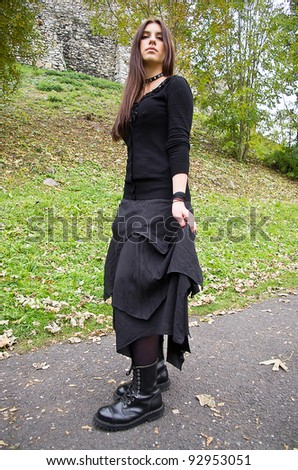 Young girl, long hair, goth style