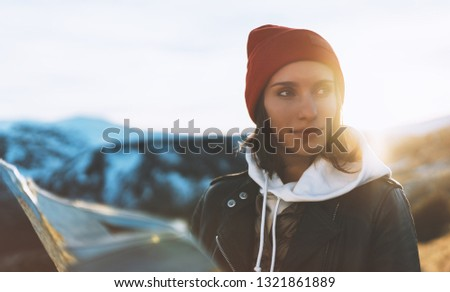 young girl look and hold in hands map, people planning trip, hipster tourist on background sun flare nature, enjoy journey landscape vacation trip, lifestyle holiday concept, sun mountain #1321861889
