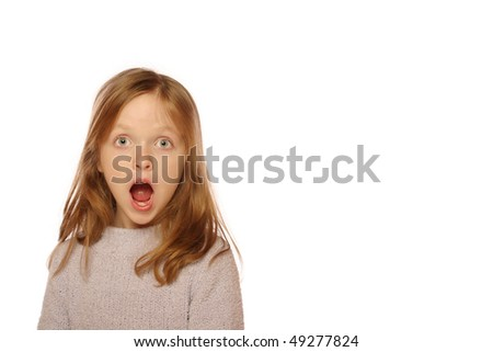 Young girl looking surprised