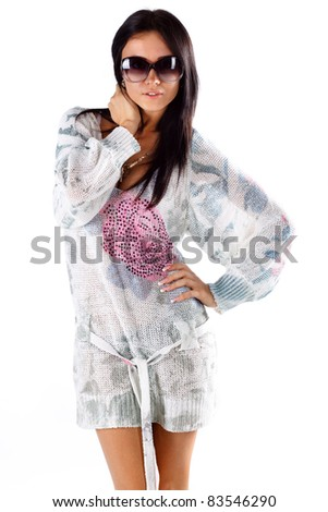 Young girl over white background
