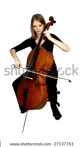 young girl playing cello on white background