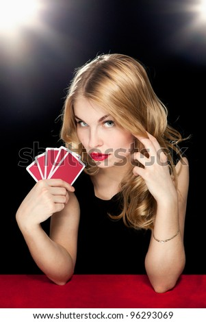 young girl playing in the gambling in casino