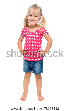 young girl poses for a picture isolated on white
