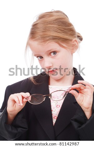 Young girl pretending to be a business woman