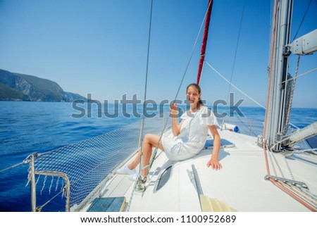 Young girl relaxing On Yacht in Greece #1100952689