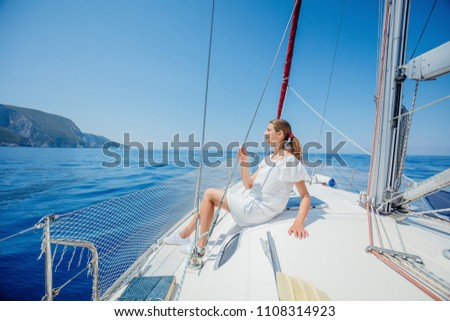 Young girl relaxing On Yacht in Greece #1108314923