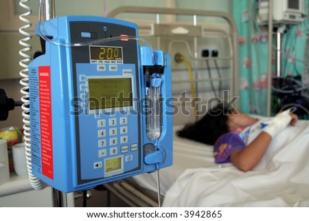 Young girl resting in a hospital icu