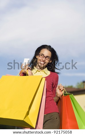 Young girl returns from shopping