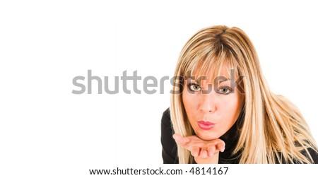 young girl sending a kiss