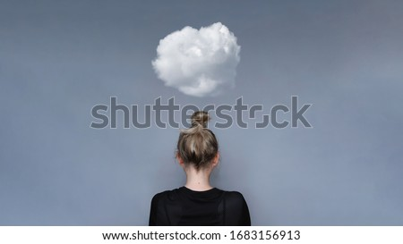 Young girl simple hairstyle back view with cloud above her head. Depression, loneliness and quarantine concept. Fashion model, trendy woman. Mental health metaphor concept Foto stock ©
