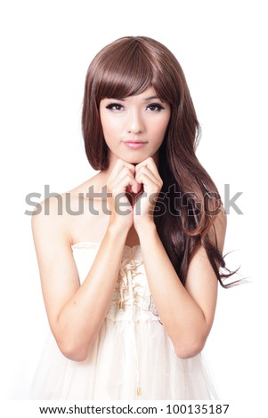 young girl smile and hand touch her face isolated on white background, model is a asian woman