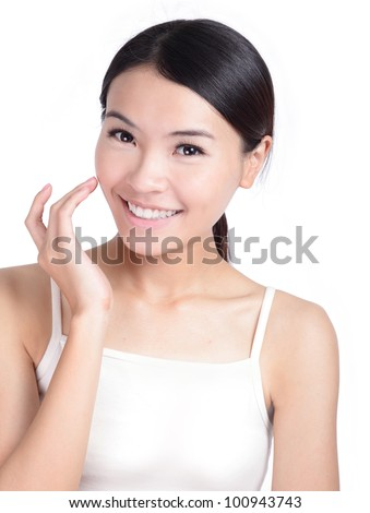 Young Girl Smile touch face with health skincare isolated on white background, model is a asian beauty