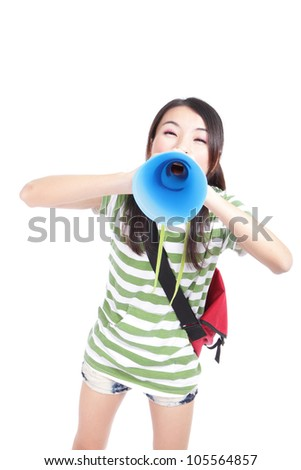 Young girl student yelling and talking to you through megaphone isolated on white background, model is a asian girl