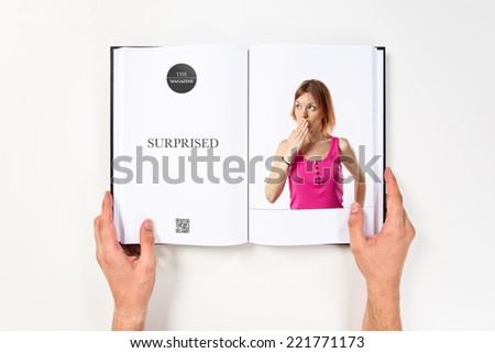Young girl surprised printed on book #221771173