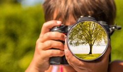 Young girl taking photos of lake tree by professional digital camera.