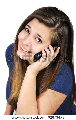 Young girl talking on cell phones