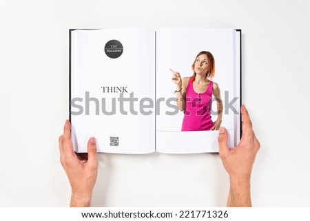 Young girl thinking printed on book #221771326
