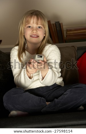 Young Girl Using Remote Control
