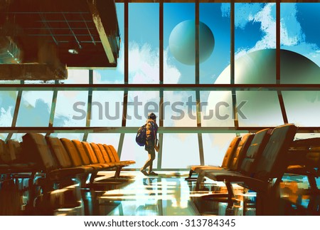 Stock Photo young girl walking in airport looking planets through window,illustration painting