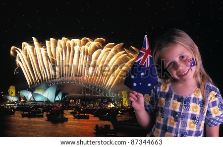 Young girl waves Australian flag in front of the Sydney Harbour Bridge