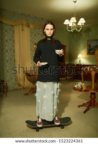 Young girl wearing eclectic clothes. Modern indipended fashion. Contemporary youth, young people with fresh view and stylish looks. Pretty baby face molel. New look. Teen style. High school. Must have
