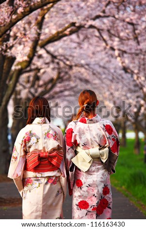 Young girl wearing Japanese kimono - stock photo