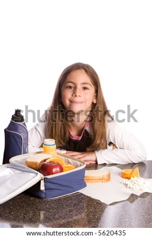 Young girl with a healthy lunch