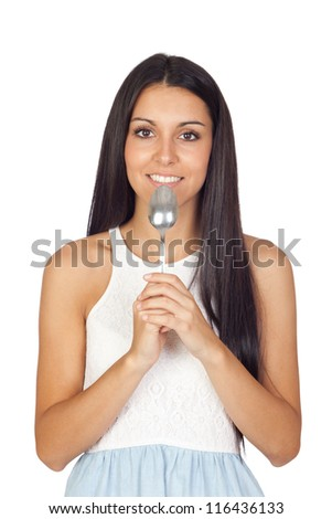 Young Girl with a Silver Spoon Isolated on White