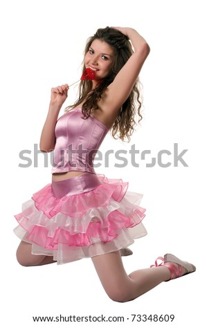 young girl with a sugar candy on a stick
