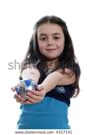 Young girl with an earth puzzle