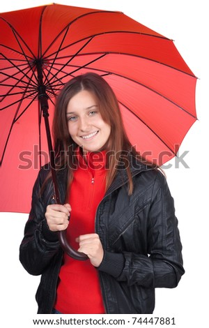 young girl with an umbrella isolated on white