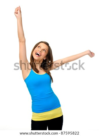 young girl with arms up is happy and excited, vibrant and fun