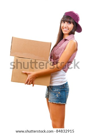 Young girl with cardboard boxes in hand isolated