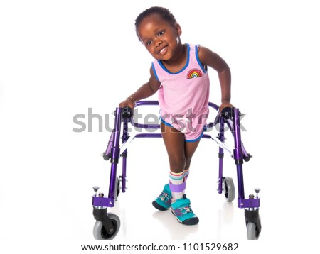 Young girl with cerebral palsy on white background Stock photo ©
