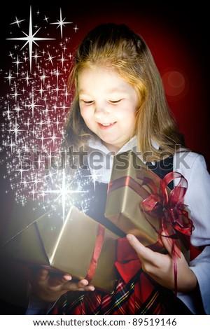 Young girl with Christmas gift