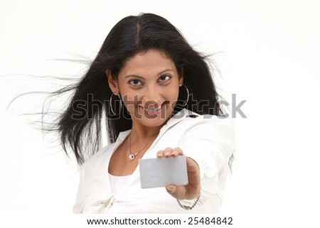 Young girl with free hairstyle holding cd