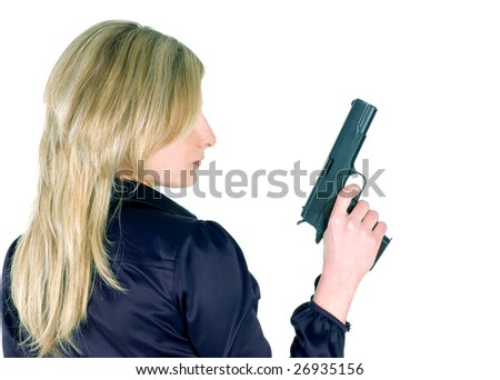 Young girl with gun isolated on white