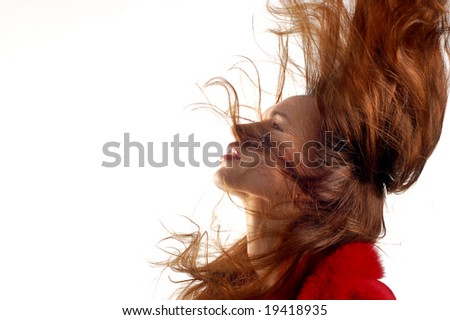 young girl  with hair in motion