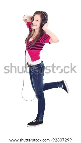 Young girl with headphones, listening music
