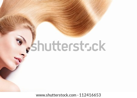 Young girl with long hair isolated