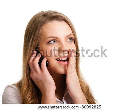 Young girl with phone isolated on white