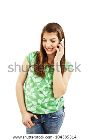 Young girl with phone. Isolated on white background. - stock photo